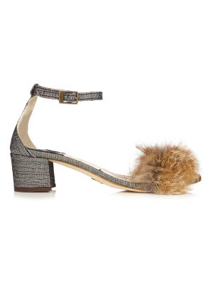 Brother Vellies Tufted Dhara brocade and fox-fur sandals