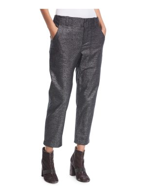 Brunello Cucinelli Mid-Rise Straight-Leg Metallic Utility Ankle Pants