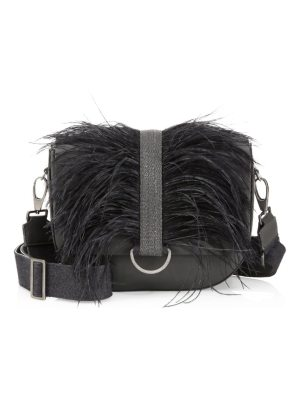 Brunello Cucinelli ostrich feather & leather shoulder bag