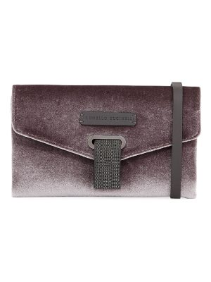 Brunello Cucinelli Velvet Monili Crossbody Bag