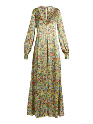 BY. BONNIE YOUNG By. Bonnie Young - Floral Print Ruffle Trimmed Silk Gown