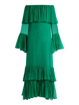 BY. BONNIE YOUNG By. Bonnie Young - Off The Shoulder Tiered Silk Chiffon Gown
