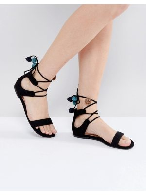 Call it Spring Call It Spring Mckeague Lace Up Pom Pom Sandals