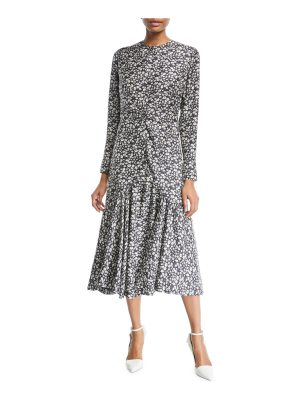 CALVIN KLEIN 205W39NYC Daisy-Print Long-Sleeve Silk Midi Dress