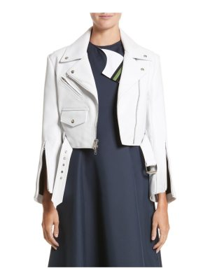 CALVIN KLEIN 205W39NYC plonge leather crop moto jacket