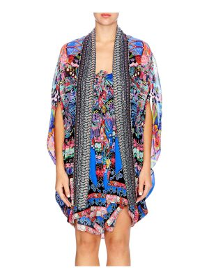Camilla chinese whispers pretpos open front silk cape