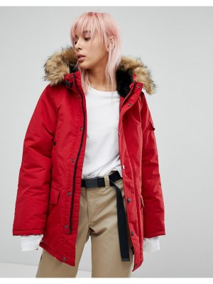 Carhartt wip oversized anchorage parka jacket with faux fur hood