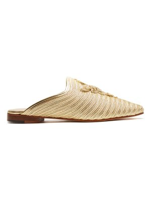 CARRIE FORBES Safi raffia backless loafers