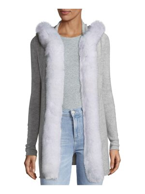 Cashmere Saks Fifth Avenue Fox Fur Trim Hoodie Open Cardigan