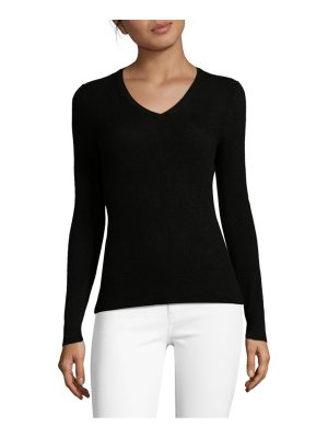 Cashmere Saks Fifth Avenue Ribbed V-Neck Cashmere Pullover