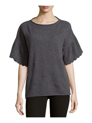 Cashmere Saks Fifth Avenue Ruffle Sleeve Cashmere Top