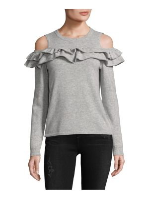 Cashmere Saks Fifth Avenue Ruffled Cashmere Cold Shoulder Top