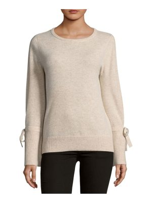Cashmere Saks Fifth Avenue Tie Sleeve Crewneck Cashmere Sweater