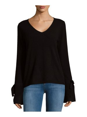 Cashmere Saks Fifth Avenue Tie Sleeve V-Neck Cashmere Sweater