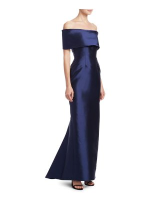 Catherine Regehr off-the-shoulder gown