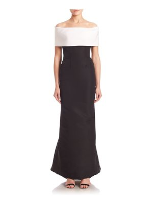 Catherine Regehr off-the-shoulder sheath gown