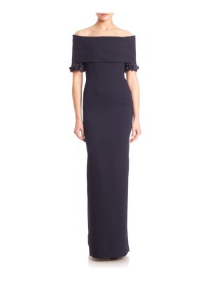 Catherine Regehr techno crepe off-the-shoulder gown