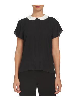 CeCe by Cynthia Steffe contrast collar crepe blouse