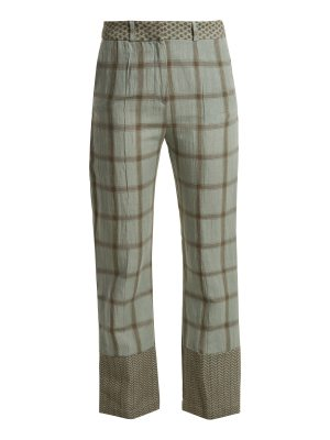 CECILIE COPENHAGEN Checked cotton and linen-blend trousers