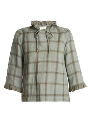 CECILIE COPENHAGEN Tie-neck cotton and linen-blend checked top