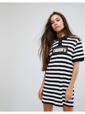 Charms Polo T-Shirt Dress With Logo In Bold Stripe