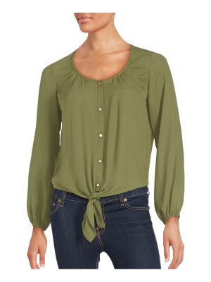 Chaus New York Knotted Hem Long Sleeve Button-Down