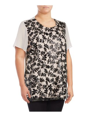 Chaus New York Short Sleeve Sequined Embroidered Blouse