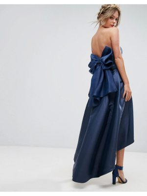 Chi Chi London bandeau midi dress with exaggerated bow back