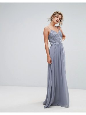 Chi Chi London cami strap maxi dress with premium lace