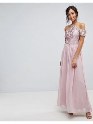 Chi Chi London Halter Maxi With Off Shoulder Lace Detail