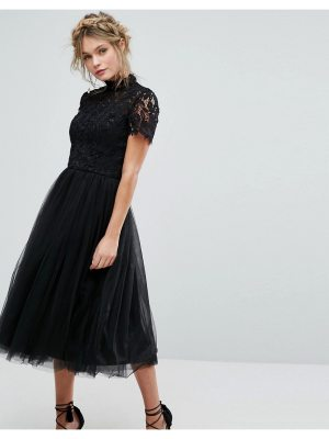 Chi Chi London high neck lace midi dress with tulle skirt