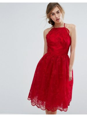 Chi Chi London high neck scalloped lace dress
