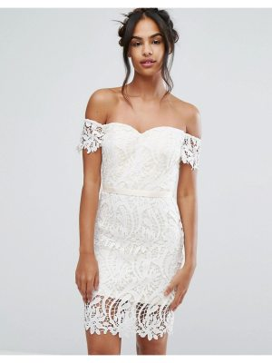 Chi Chi London lace bandeu midi dress with sweetheart neck