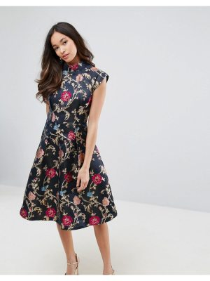 Chi Chi London Midi Dress in Jacquard with Mandarin Neck Detail