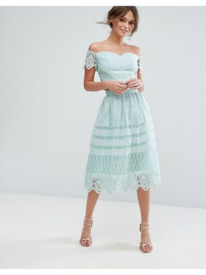 Chi Chi London Midi Skirt In Paneled Lace