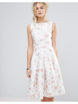 Chi Chi London Structured Full Midi Dress In Floral