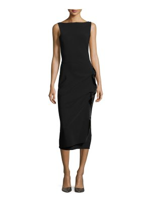 Chiara Boni La Petite Robe Branka Boat-Neck Sleeveless Midi Cocktail Dress w/ Zipper Detail