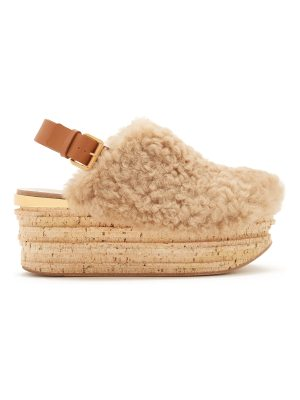 Chloe Camilla shearling wedge sandals