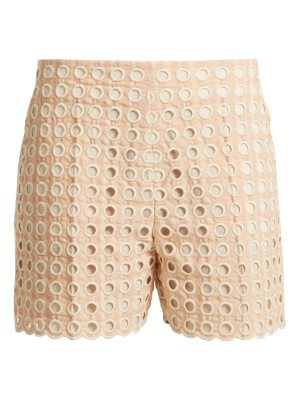 Chloe embroidered eyelet cotton blend shorts