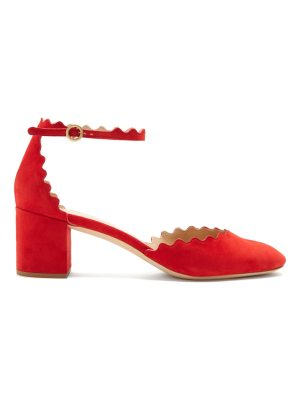 Chloe Lauren scallop-edged suede pumps