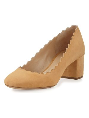 Chloe Scalloped Suede Ballerina Pump