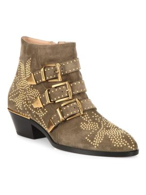 Chloe susanna studded suede buckle booties