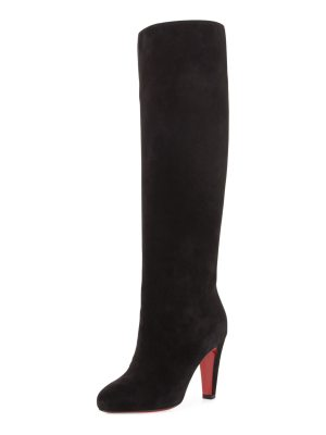 Christian Louboutin Suede 85mm Red Sole Knee Boot