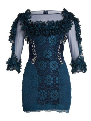 Christopher Kane Contrast Panel Ring Embellished Lace Mini Dress