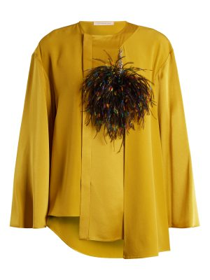 Christopher Kane Feather-brooch crepe-cady blouse