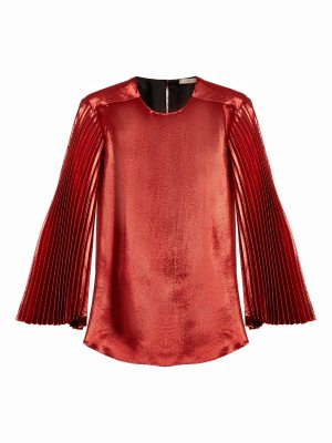 Christopher Kane Pleated Sleeve Silk Blend Lamé Blouse