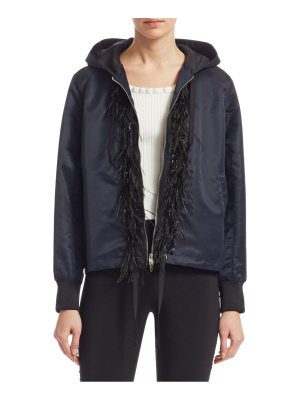 Cinq a Sept colette hooded feather-trim jacket