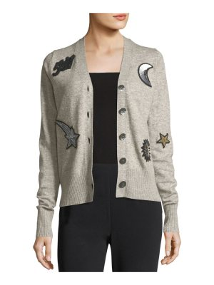 Cinq a Sept Dillon Button-Front Wool-Blend Cardigan with Patchwork