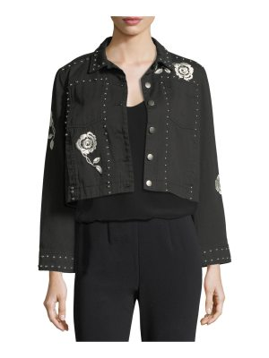 Cinq a Sept Fatima Button-Front Denim Jacket with Embroidery and Studded Trim