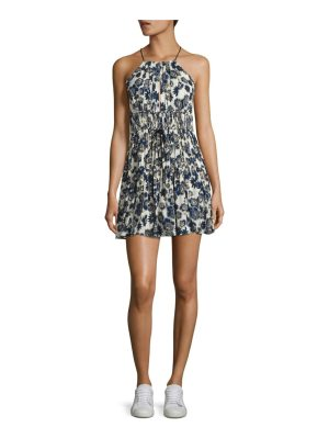 Cinq a Sept lotus floral-print silk halter dress